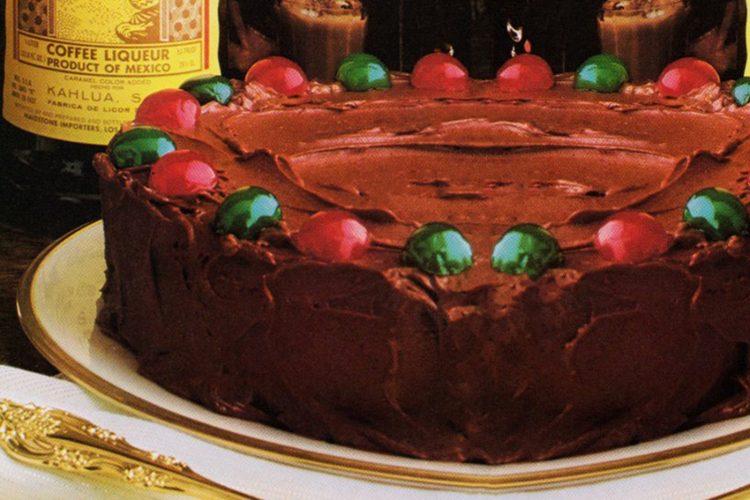Kahlua chocolate-almond cake retro recipe