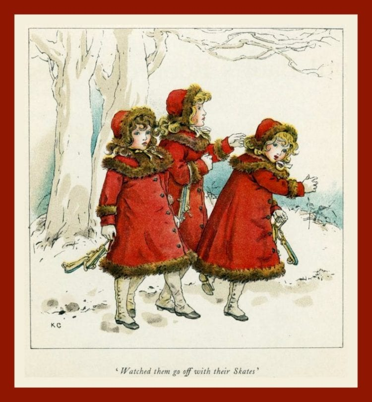 Kate Greenaway 1910 - kids ice skating