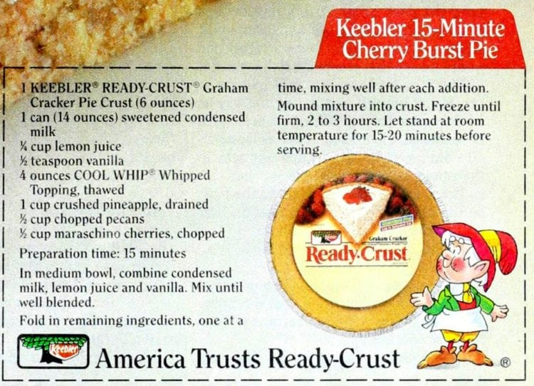 Keebler 15 minute Cherry Burst Pie recipe