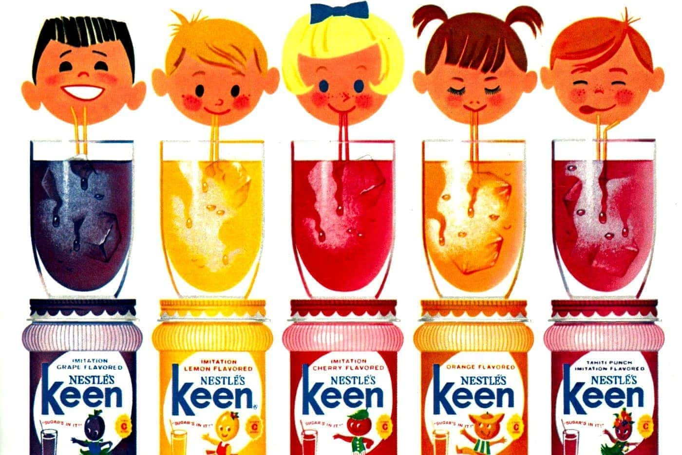Keen fruit-flavored soft drink mixes for kids from the '60s
