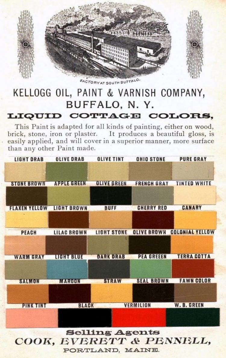 Kellogg Oil Paint and Varnish Liquid cottage colors 1885