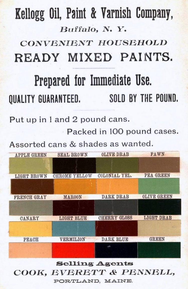 Kellogg Oil Paint and Varnish Liquid cottage colors 1885 B