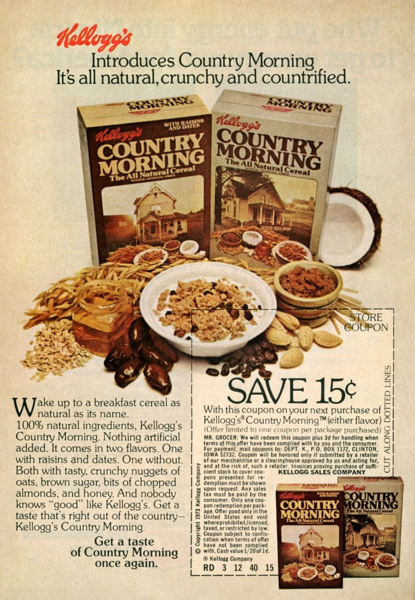 Kellogg's introduces Country Morning breakfast cereal (1973)
