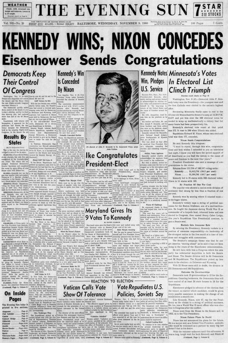Kennedy wins; Nixon Concedes