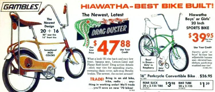 Kids bicycles from 1970 - Drag Duster and Hiawatha bikes