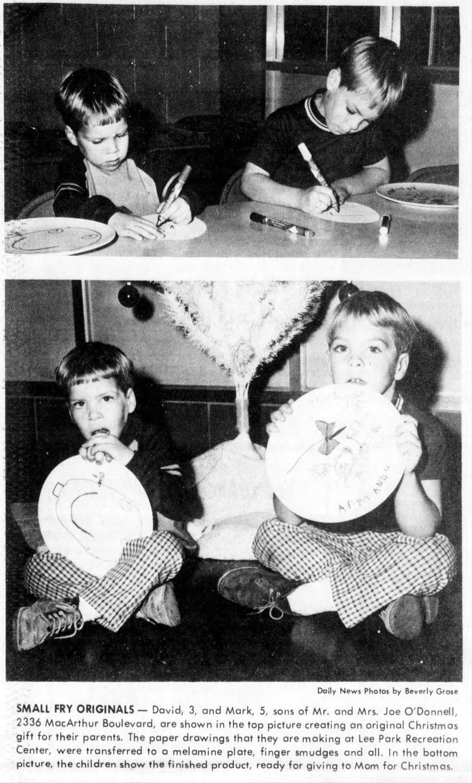 Kids making plate drawings - Irving Daily News (Texas) December 22, 1971