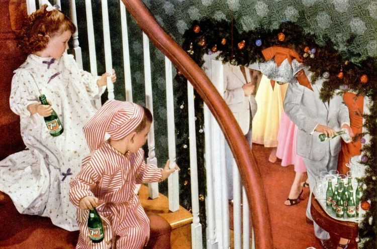 Kids watching a 1956 Christmas party with 7-up