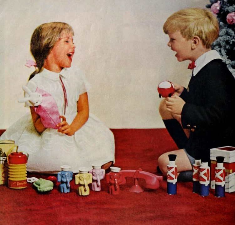 Kids with Christmas toys in 1964