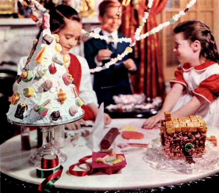 Kids with Christmas treats in 1952