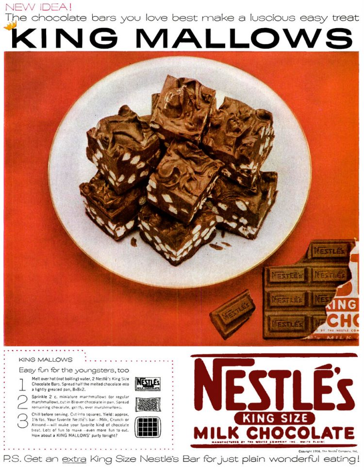 King Mallows marshmallow fudge recipe Nov 5, 1956