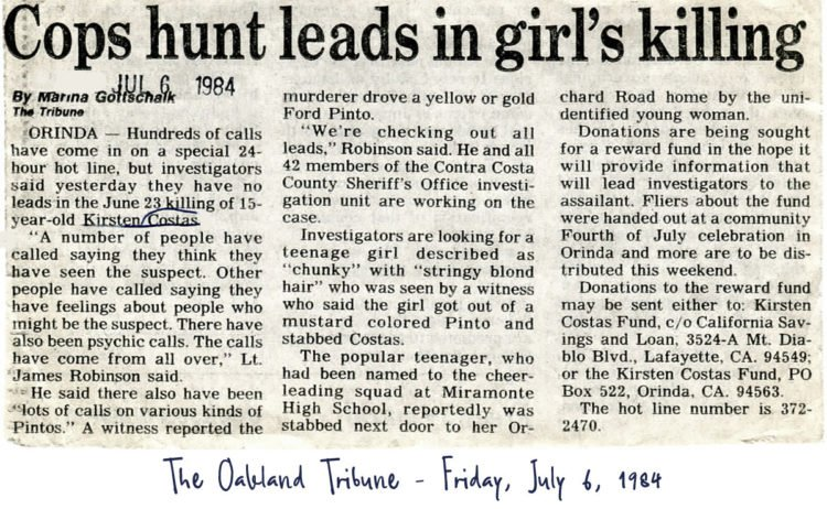 Kirsten Costas-The Oakland Tribune - Friday, July 6, 1984