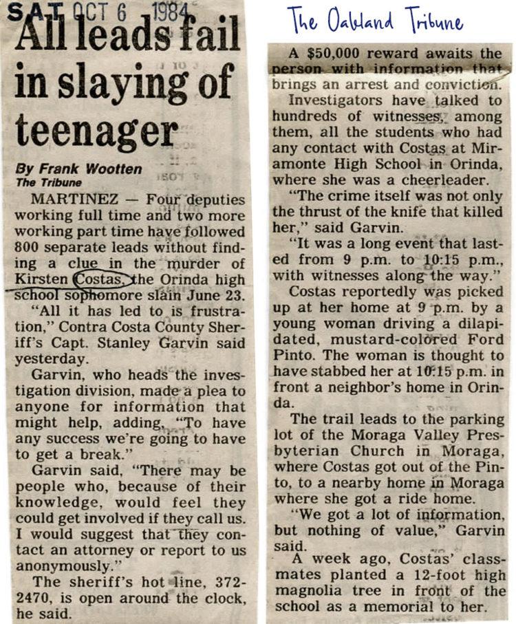 Kirsten Costas murder -Oakland Tribune newspaper clippings - Death of a Cheerleader case - 1984 (1)