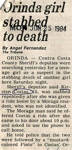 Kirsten Costas murder -Oakland Tribune newspaper clippings - Death of a Cheerleader case - 1984 (2)