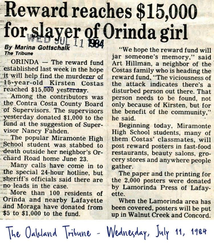 Kirsten Costas murder -Oakland Tribune newspaper clippings - Death of a Cheerleader case - 1984 (6)