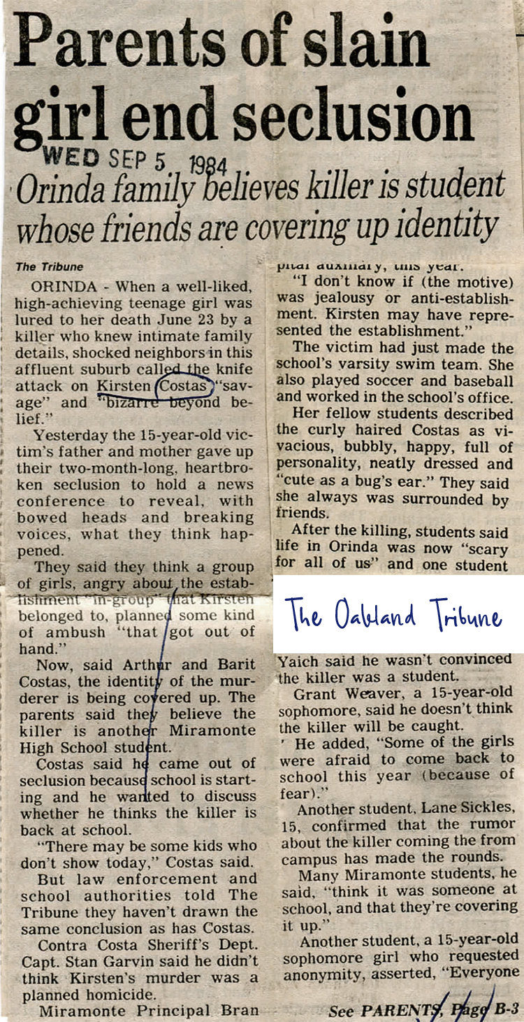 Kirsten Costas murder -Oakland Tribune newspaper clippings - Death of a Cheerleader case - 1984 (7)