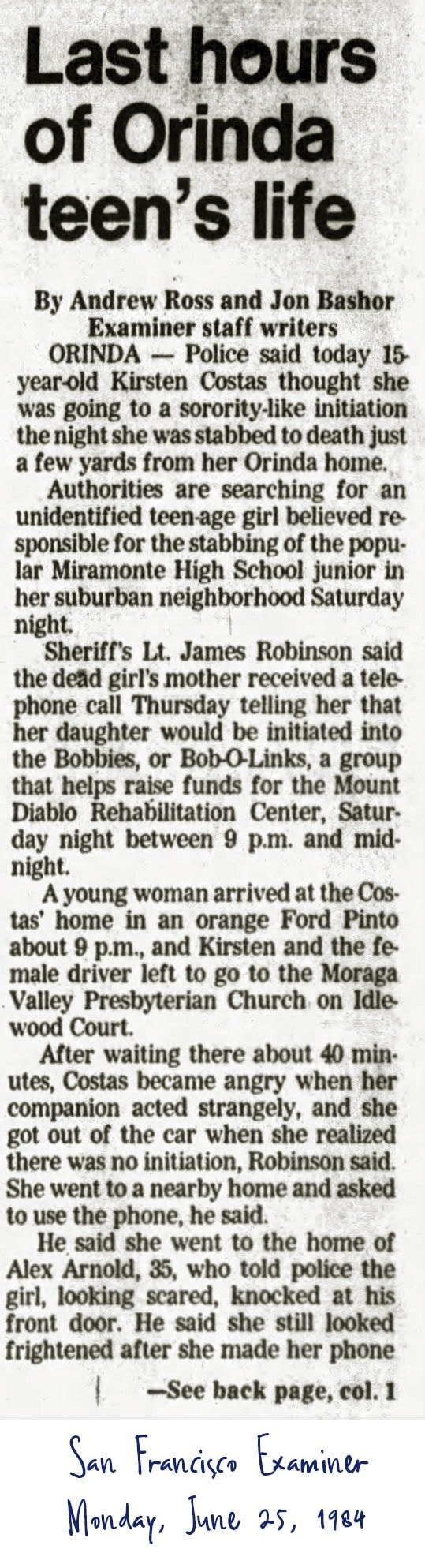 Kirsten Costas murder case front page newspaper story - San Francisco Examiner from June 25 1984