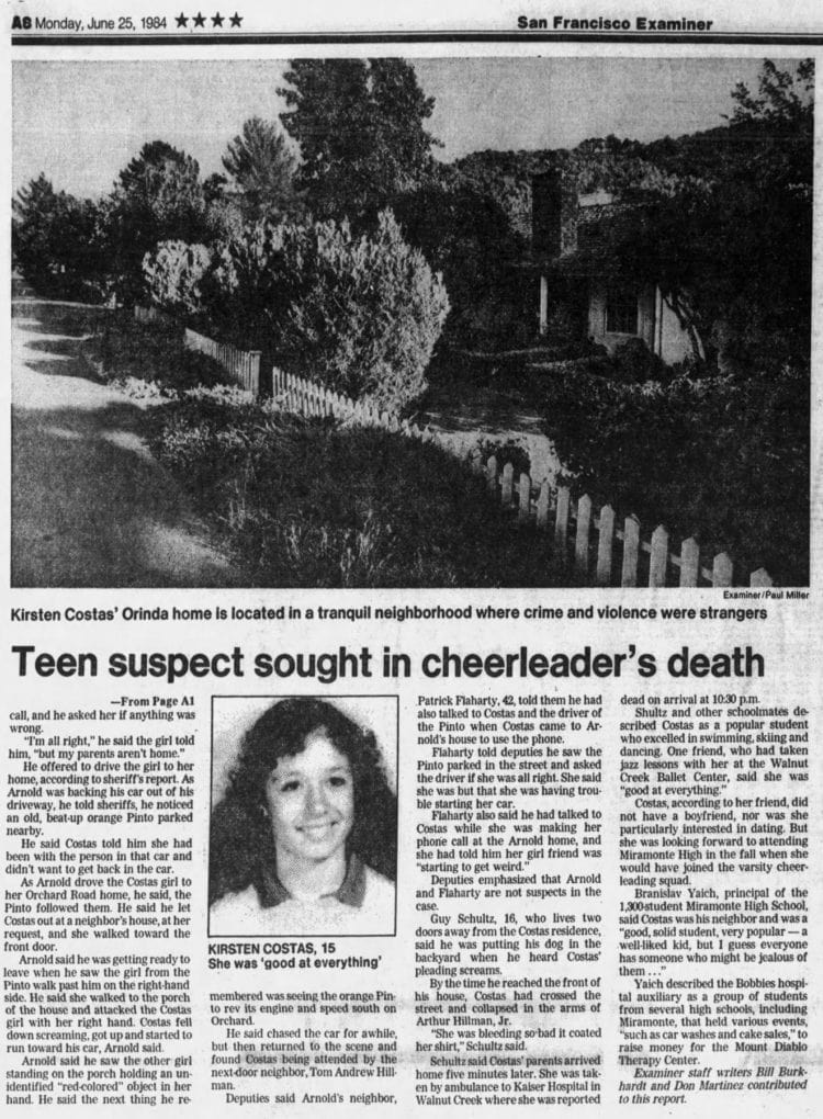 Kirsten Costas murder case newspaper clipping - San Francisco Examiner from June 25 1984