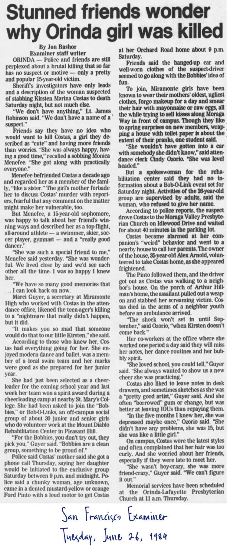 Kirsten Costas murder case newspaper clipping - San Francisco Examiner from June 26 1984