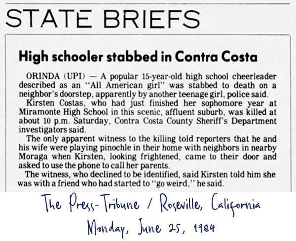 Kirsten Costas murder case newspaper headlines - Press-Tribune Monday June 25 1984