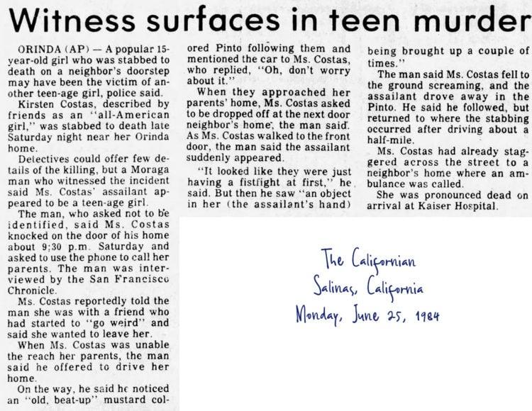 Kirsten Costas murder case newspaper headlines -The Californian Mon June 25 1984