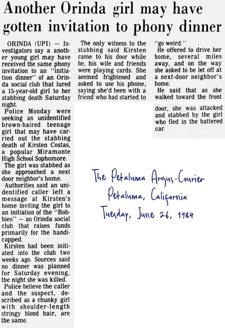 Kirsten Costas murder case newspaper headlines -The Petaluma Argus Courier Tue Jun 26 1984