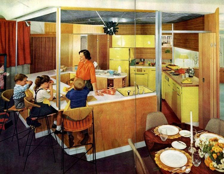Kitchen 1958 with barstools and eating area - strange shape