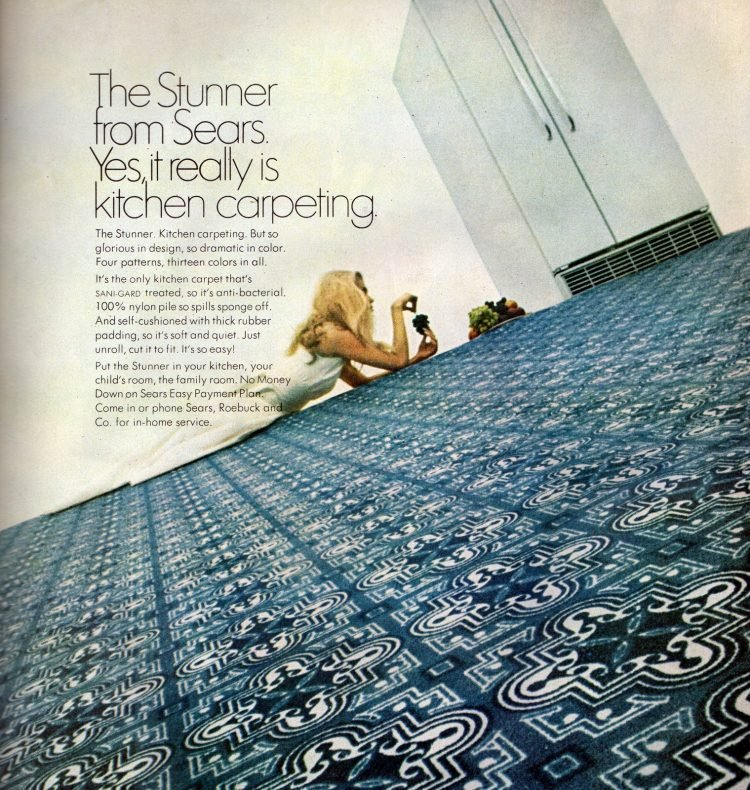 Kitchen carpeting in blue and white from Sears 1968