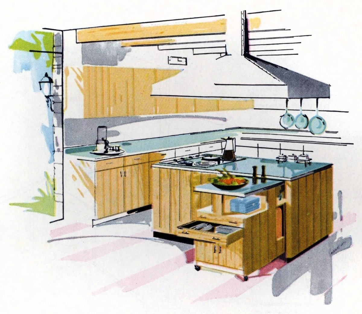How to make a kitchen center island (1961) - Click Americana