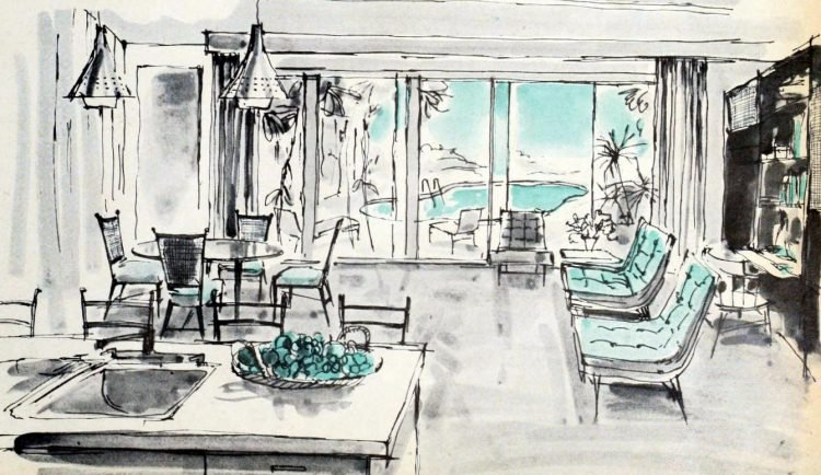 Kitchen family room sketch - decor concept