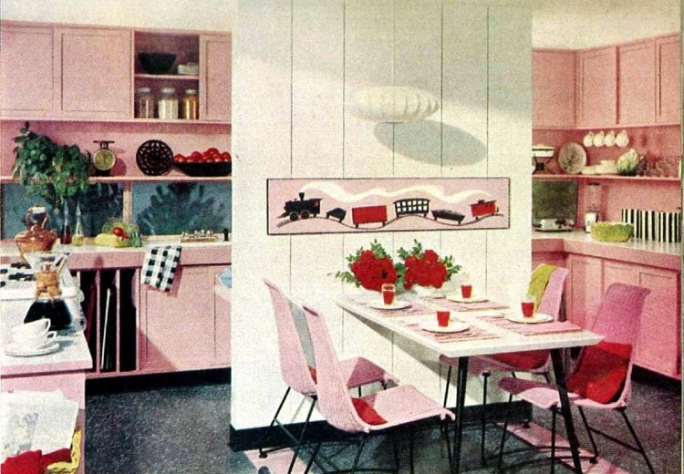 Retro Pink Kitchens For You And Me Pink White Black Home Decor