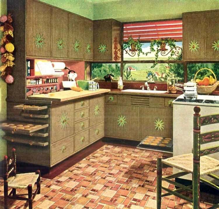 Kitchen with built-in cookie cooling trays from the 1950s