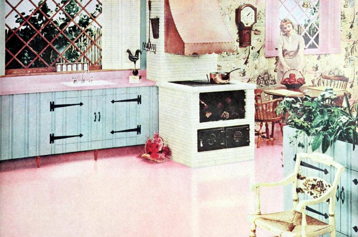Kitchen with pink floors and countertops - 1950s