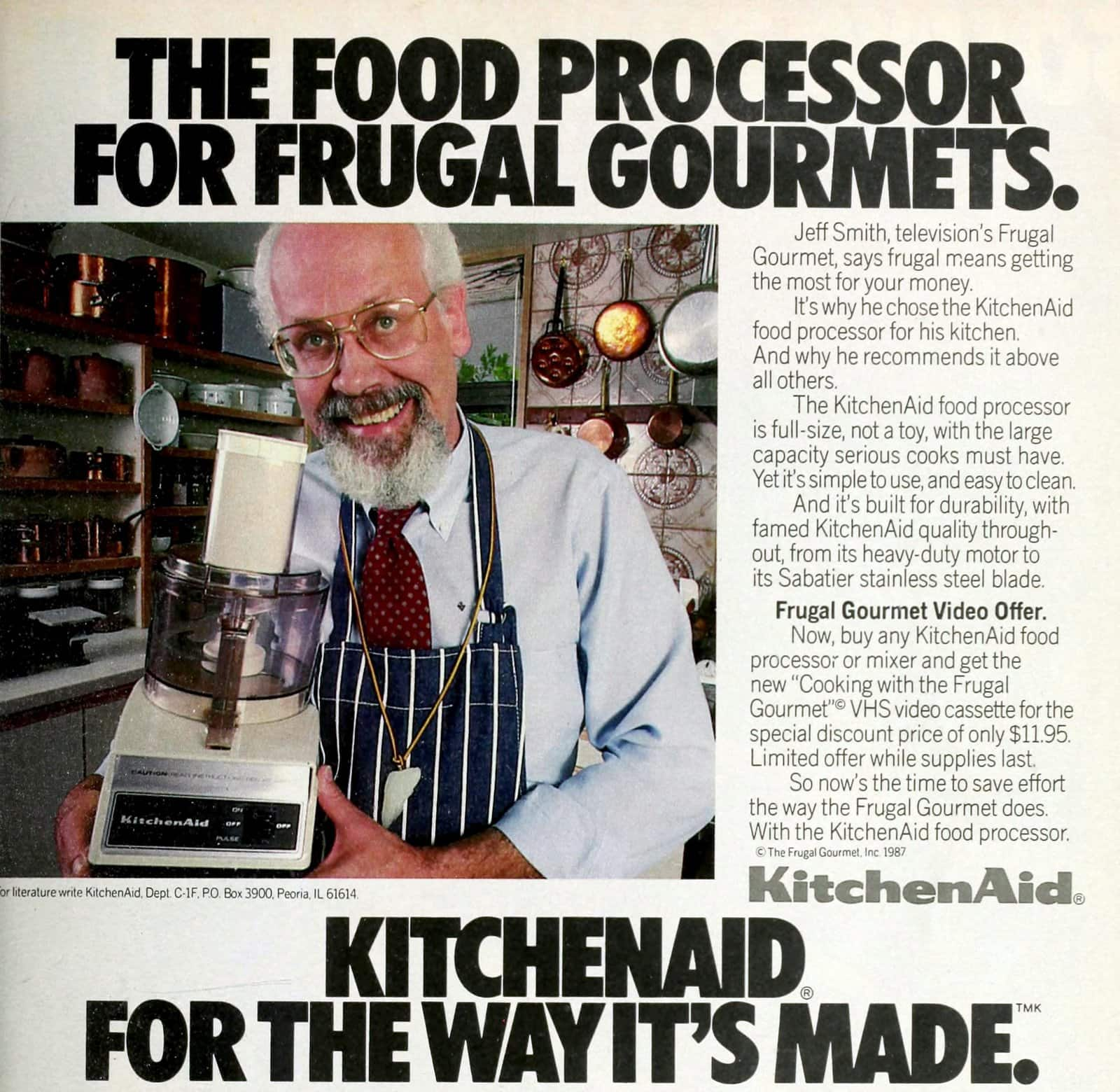 Kitchenaid 1980s food processor with The Frugal Gourmet