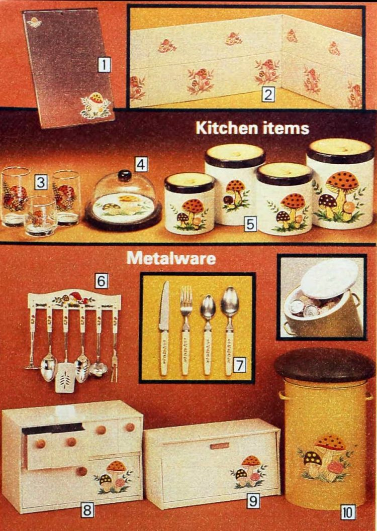 Kitschy old mushroom design kitchen accessories from 1979 (3)