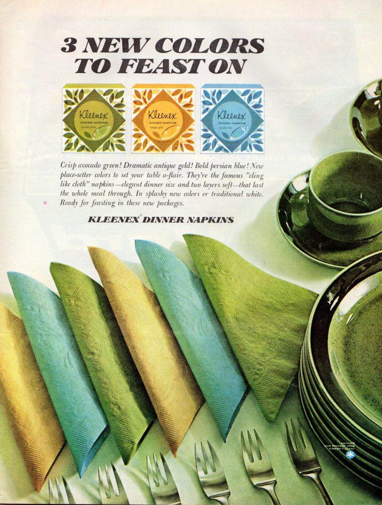 Kleenex dinner napkins from 1964
