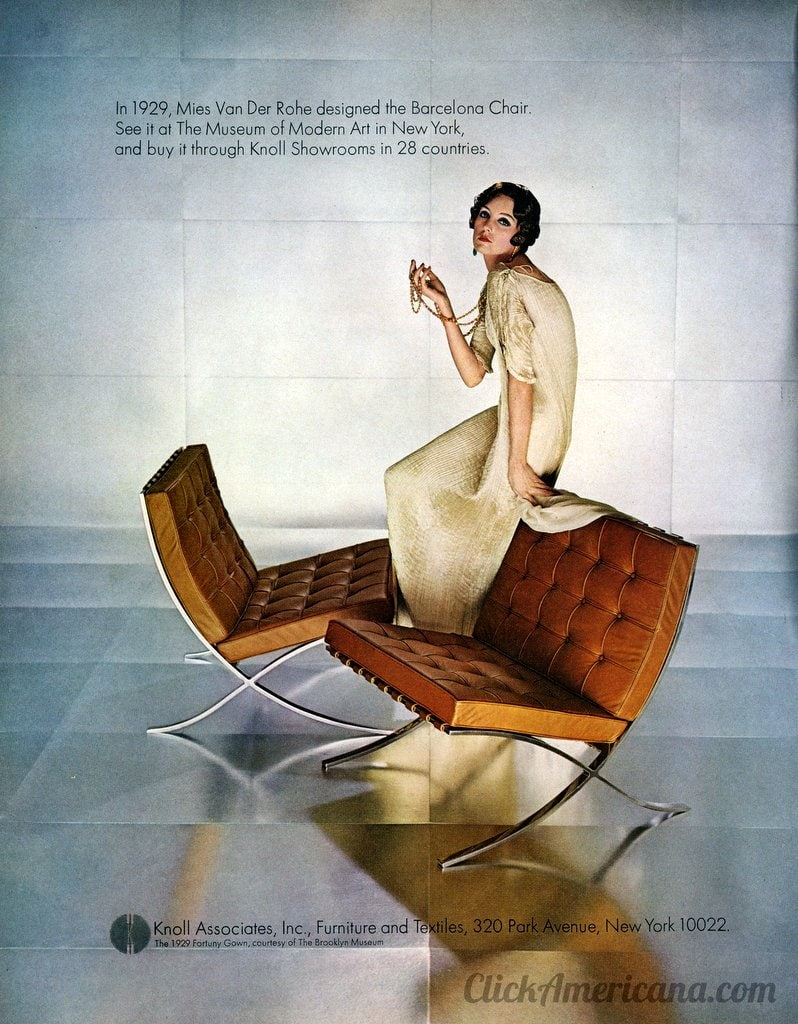 Knoll Barcelona chairs - metal and leather (1967)