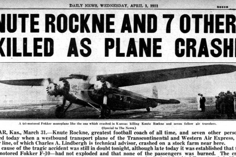 Knute Rockne plane crash April 1 1931 - New York Daily News