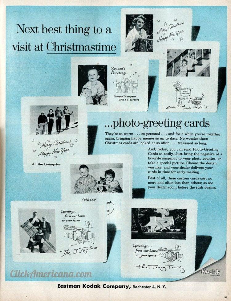 Kodak Christmas cards for family photos from 1955