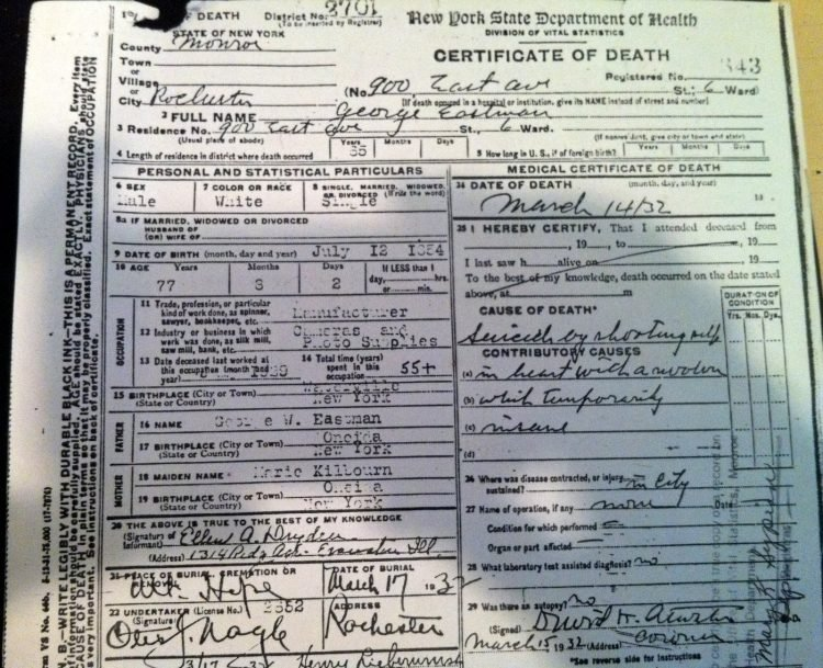 Kodak founder George Eastman death certificate - 1932