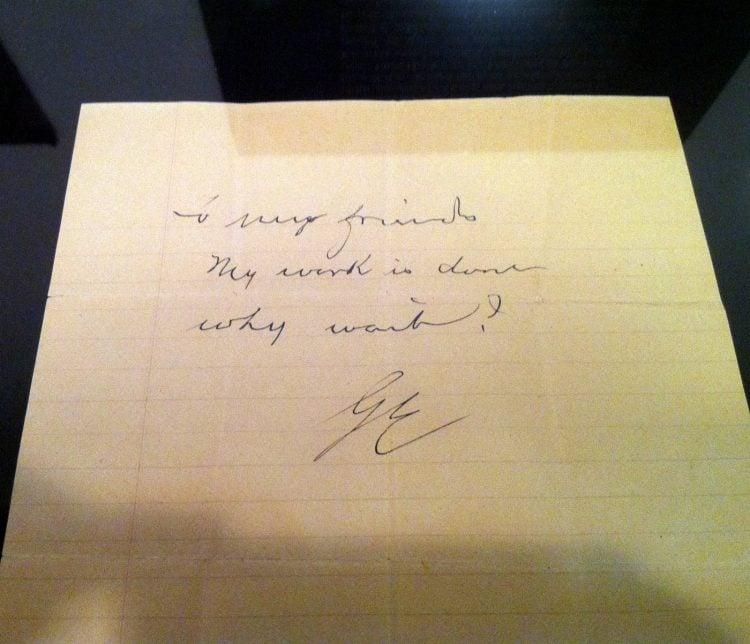 Kodak founder George Eastman suicide note - 1932