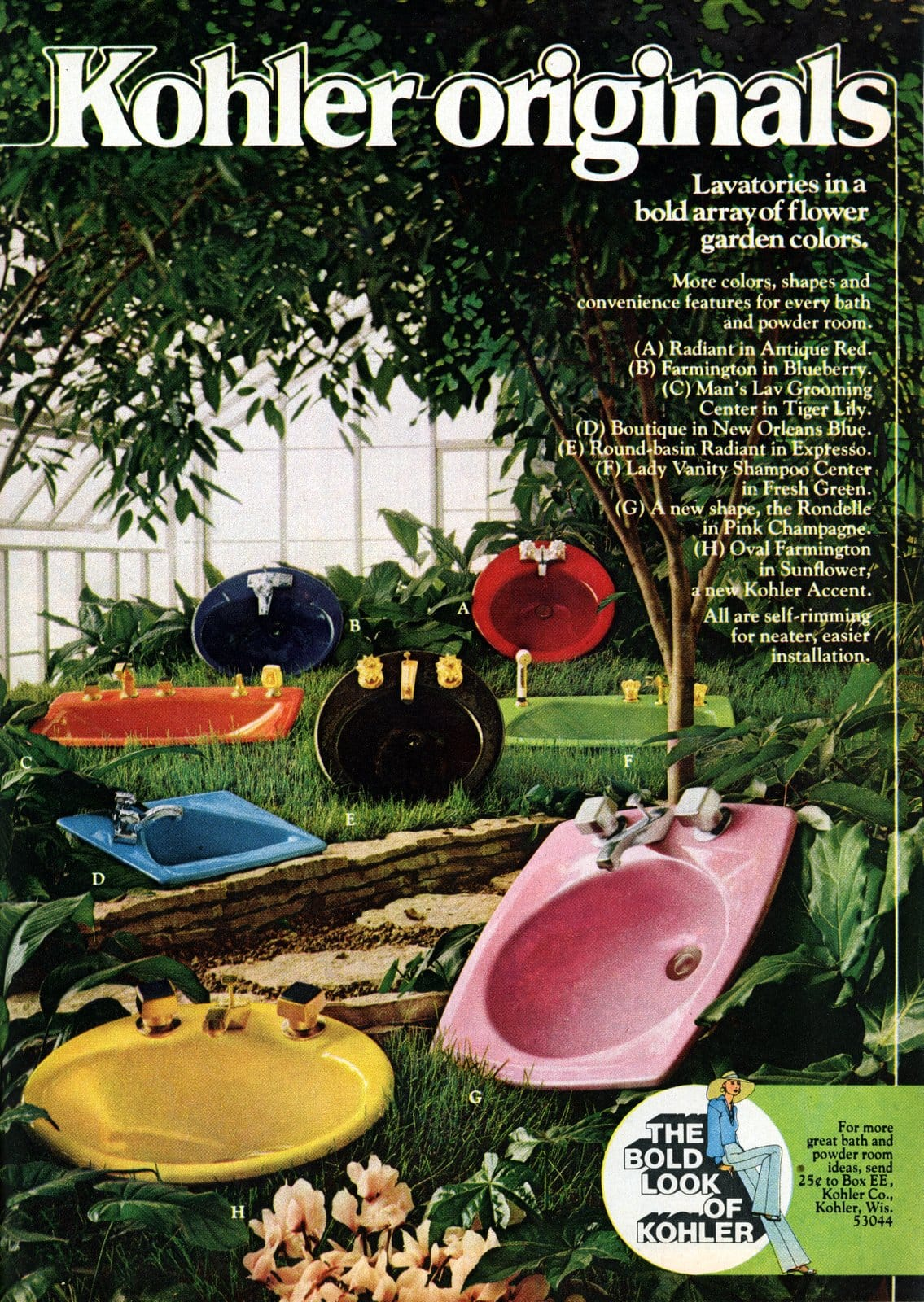 Kohler Originals Lavatories in a bold array of flower garden colors (1967)
