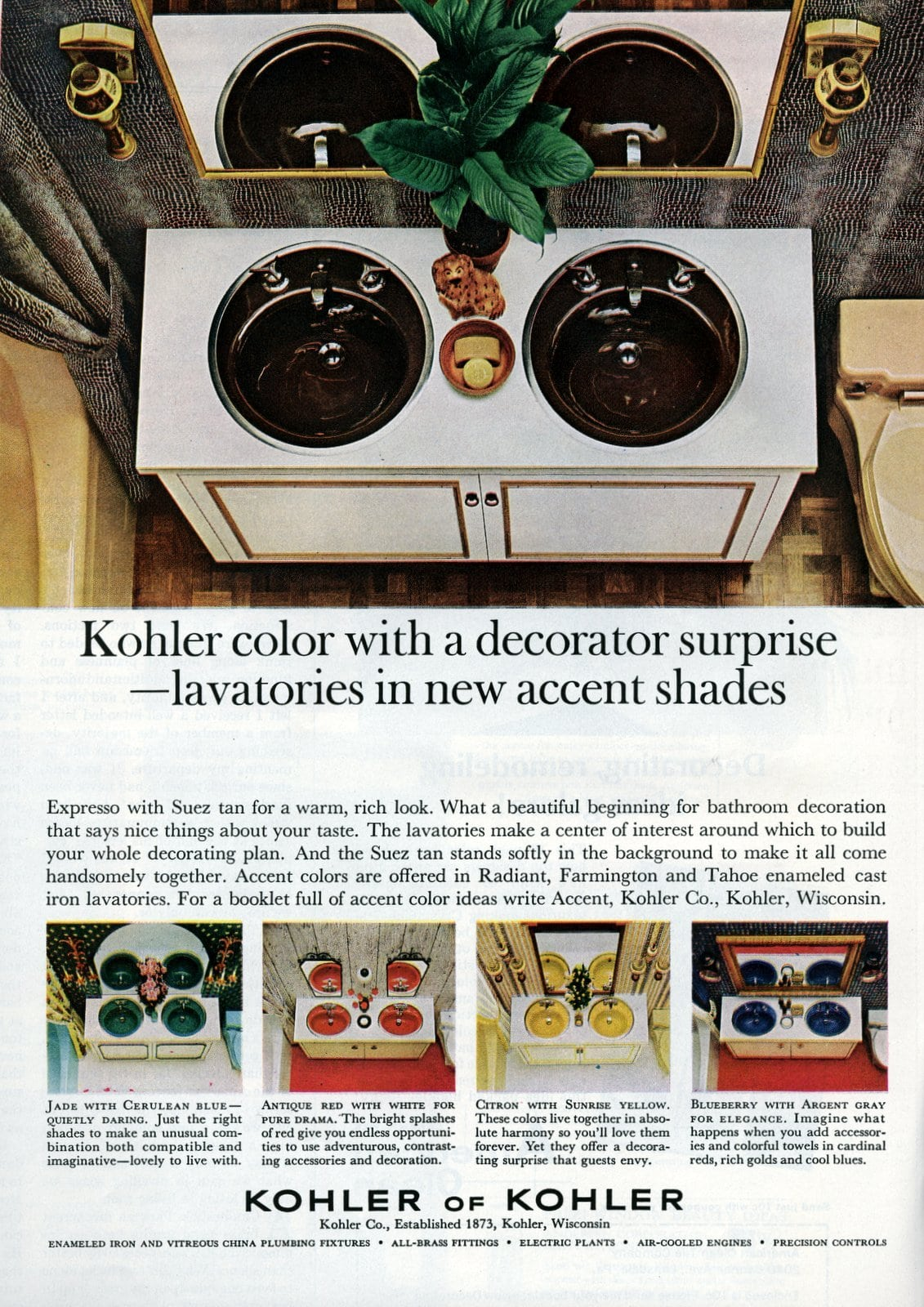 Kohler lavatories - sinks in decorator shades (1965)