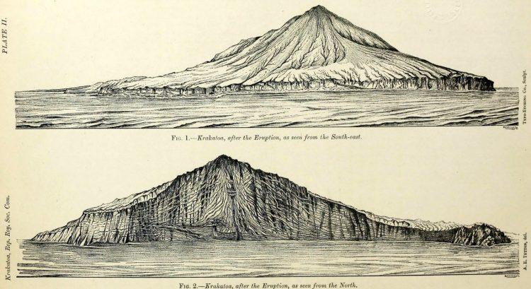 Krakatoa volcano - side views