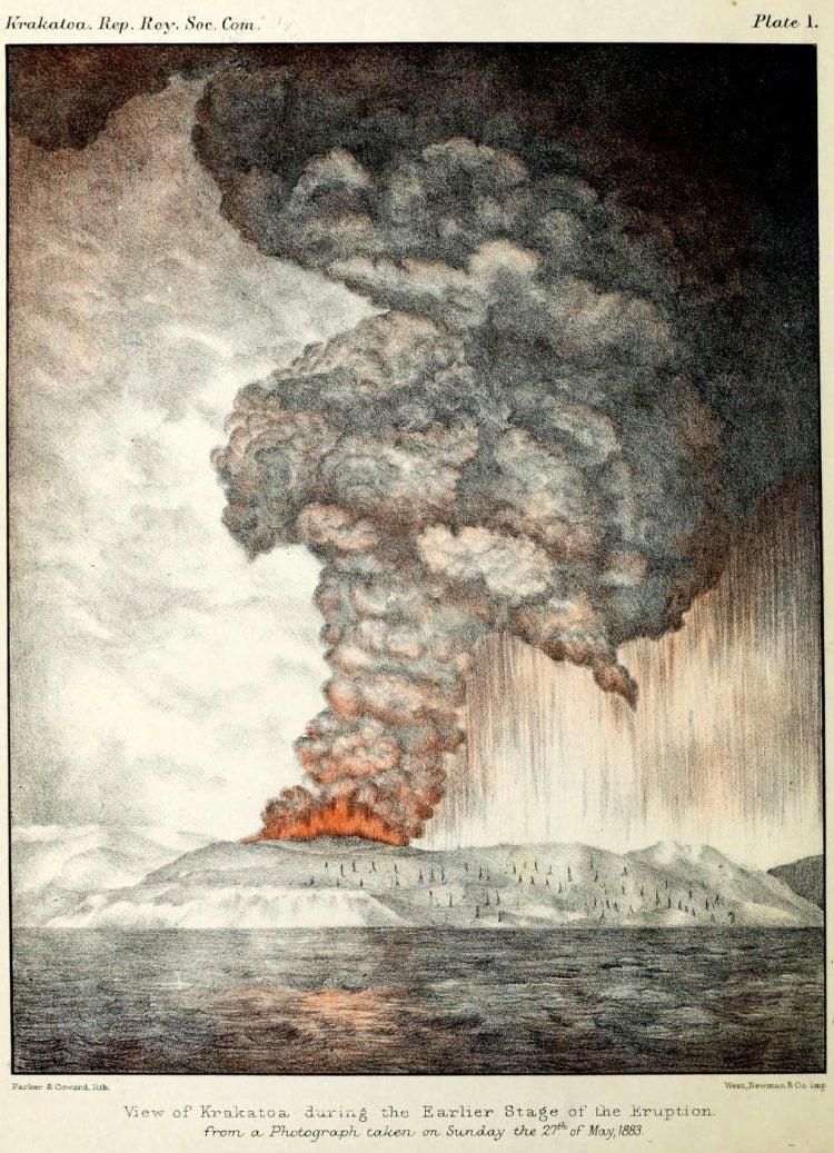 Krakatoa's volcano erupts, kills thousands (1883)