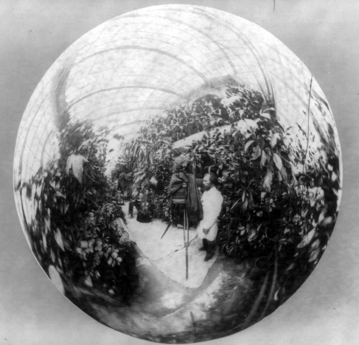 Kuznetsov greenhouse mirrored sphere vintage selfie (c1885) at ClickAmericana com