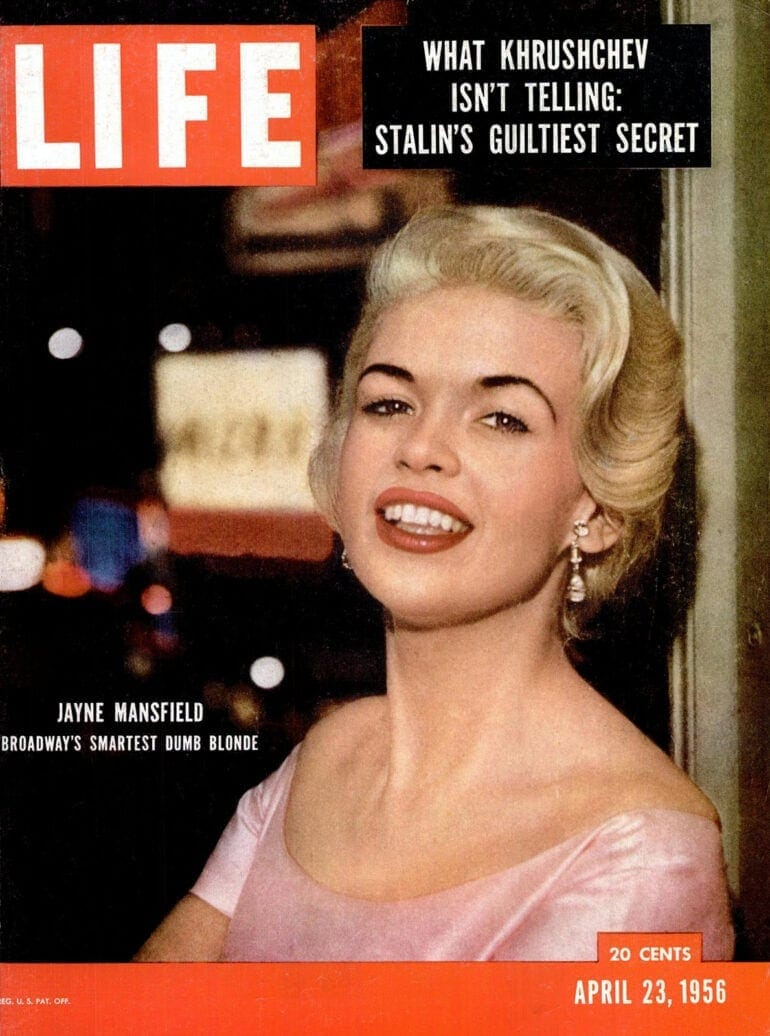 LIFE Apr 23, 1956 Jayne Mansfield cover