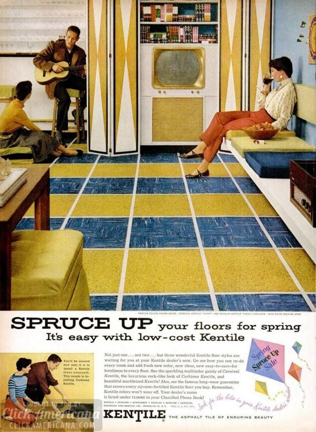 Vintage kitchens & family rooms with colorful asphalt tile floors (1950s)