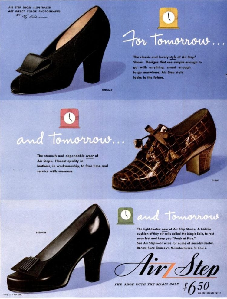 Air Step women's shoes with toe decorations & bows (1943)