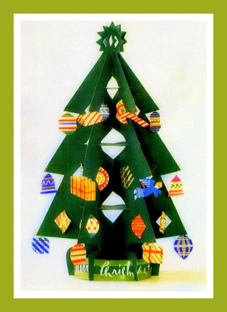Vintage Christmas Decorations 1950s.Print Cut Assemble This Cute 1950s Vintage Christmas Tree