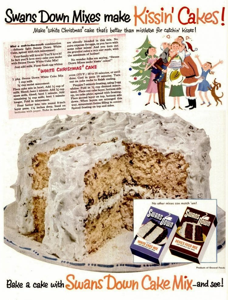 White Christmas cake with mincemeat: An old-fashioned holiday recipe (1952)